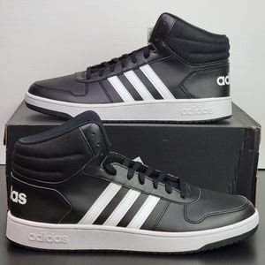 Adidas Hoops 2.0 Mid Black White Men's Shoes